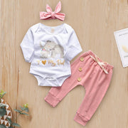 "3PCS ""I Love my Dad"" Elephant Printed Romper With Solid Pants Baby Set"