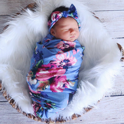 Cute NewBorn Flower Floral Printed Swaddle Sleeping Bag And Headband Baby Set