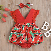 2PCS Lovely Watermelon Printed Romper
