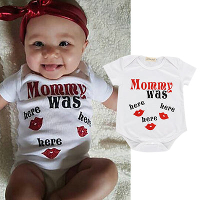 """Mommy Was Here""Funny Lip Printed Baby Romper"