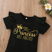 "3PCS ""The Princess Has Arrived"" Leopard Printed Baby Set"