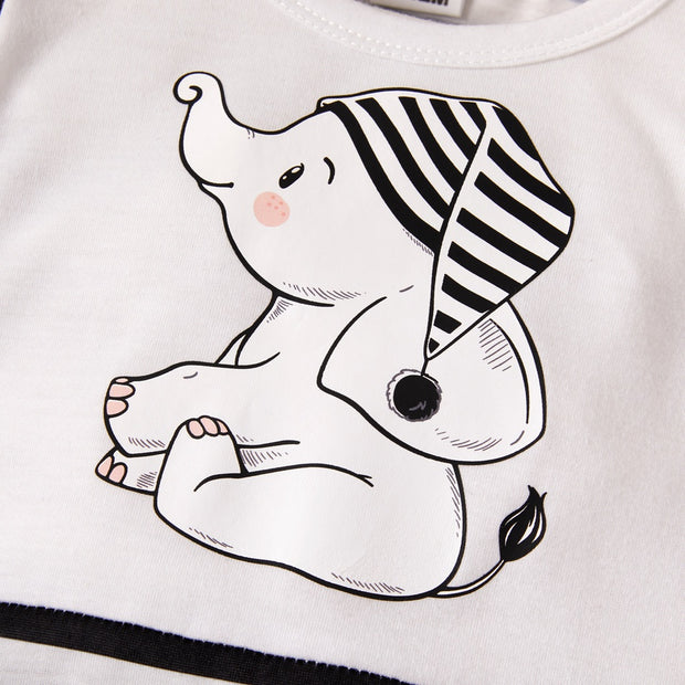 Lovely Cartoon Elephant Printed Long Sleeve Baby Jumpsuit