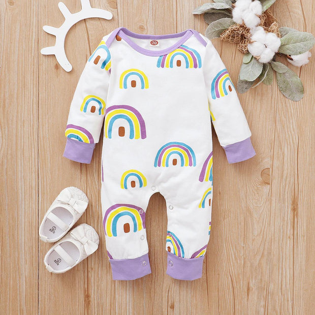 Lovely Rainbow Printed Baby Jumpsuit