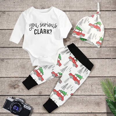 3PCS Baby Boy Letter Printed Romper With Car Printed Pants Baby Set