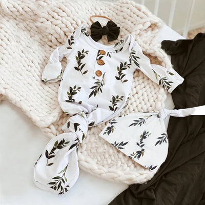 Lovely Baby NewBorn Leaves Printed Pajamas With Hat