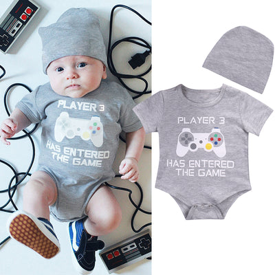 "Baby Unisex ""Player3 Has Entered The Game"" Game Machine Printed Romper"