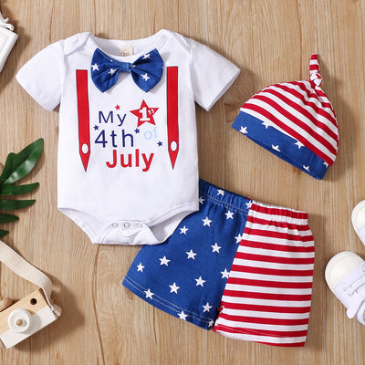 3PCS Fashion Letter Star Stripe Printed Baby Set