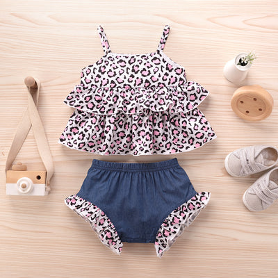 2PCS Sweet Leopard Printed Baby Set