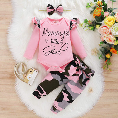 "3PCS ""Mommy's Little Girl"" Letter Printed Rufffled Romper With Camouflage Printed Pants Baby Girl Set"