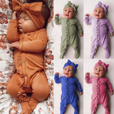 Sweet Solid Printed Fold Edge Long-sleeve Baby Jumpsuit With Headband