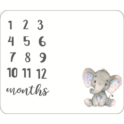 Creative Milestone Cute Elephant Printed Baby Photography Blanket
