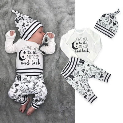 3PCS Love You To The Moon And Back Baby Set