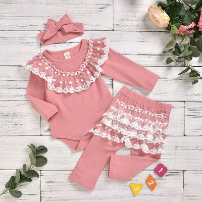 Baby Gril Lovely Lace Solid Romper With Pants Set