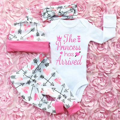 Baby Princess Letter Print Top + Pants + Headband Set