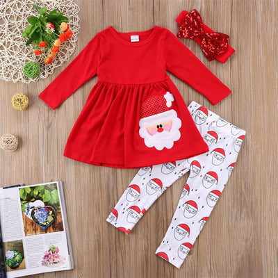 Baby Christmas Princess Santa Print Top + Pants + Headband