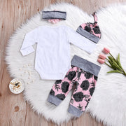Baby Set 4PCS Newborn Baby Girl Romper Bodysuit+Pants Leggings Outfits Clothes