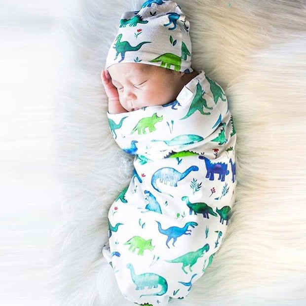 Newborn Dinosaur Print Sleeping Bag Hat Set