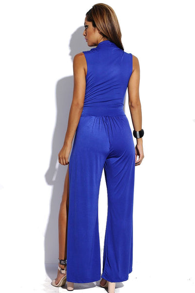 Low Cut High Slit Wide Leg Jumpsuit