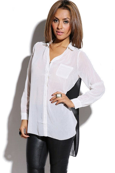 Chiffon Color Block High Low Blouse
