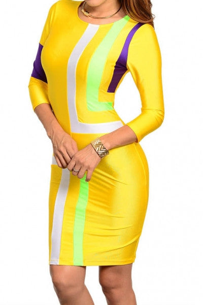 Bella Color Blocked Bodycon Dress