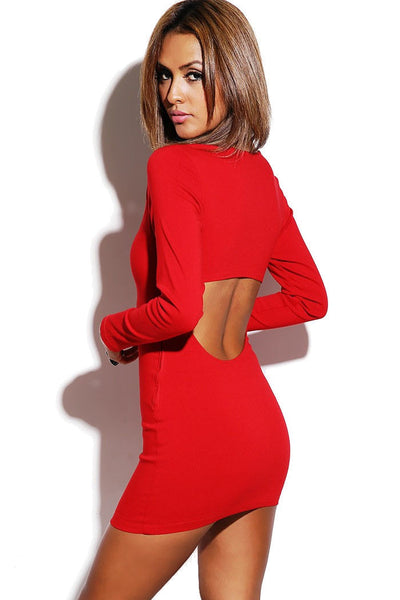 Red Long Sleeve Bodycon Cutout Dress