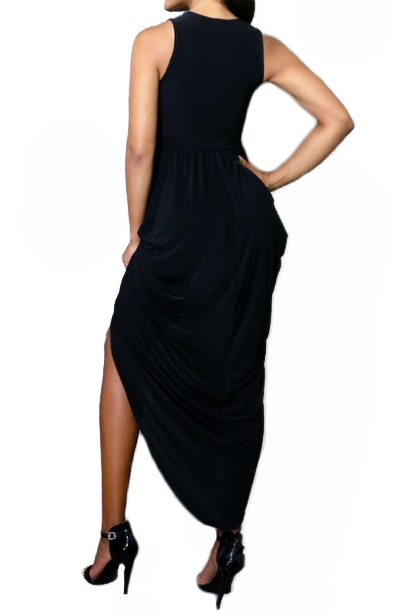 Low V-Neck Wrap Maxi Dress