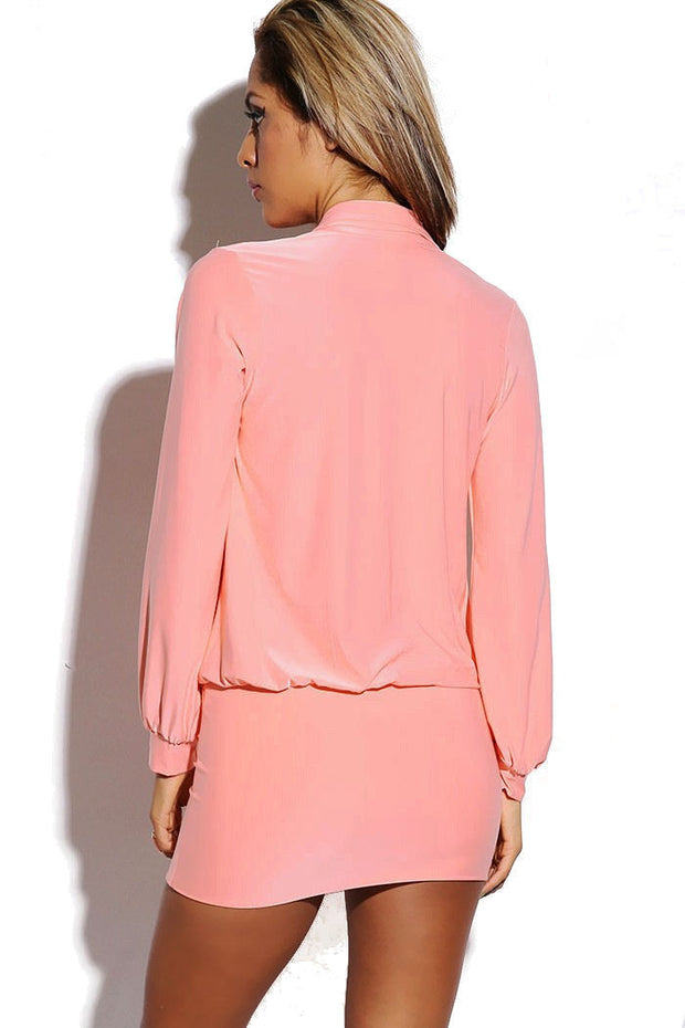Blush Pink Long Sleeve Deep V-Neck Dress