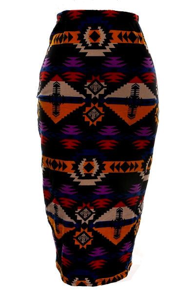 Aztec Print Pencil Skirt