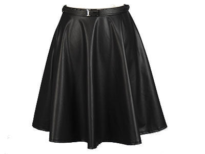 Flared Faux Leather Skirt
