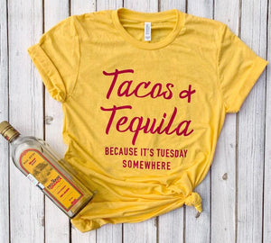 Tacos and Tequila Because It's Tuesday Somewhere red Women tshirt Cotton Casual Funny t shirt Gift 90s Lady Yong Girl S-914