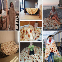 Load image into Gallery viewer, Super Soft Warm Flannel Blankets Round Shape Airplane Travel Throw Coral Fleece Tortilla Nap Wraps Blanket
