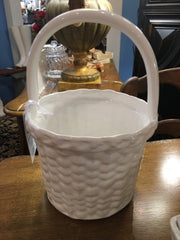 WHITE CERAMIC POT WITH HANDLE,Consign & Design,Home Accessories,WELLINGTON- Consign & Design Consignment Store South FL