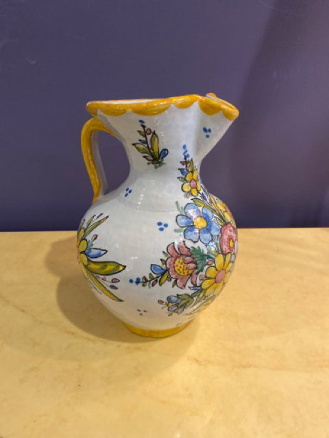 PITCHER FLORAL CREAM, YELLOW