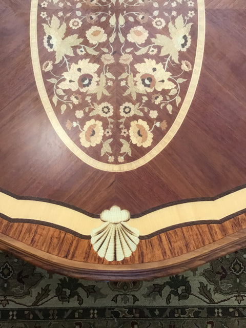CUSTOM DINING TABLE WITH INLAY WOOD ONE LEAF