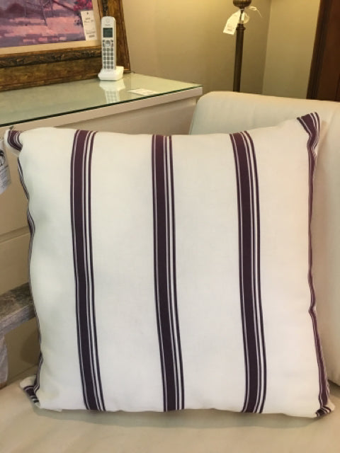 WILLIAMS SONOMA PILLOW PLUM AND CREAM STRIPE SUNBRELLA