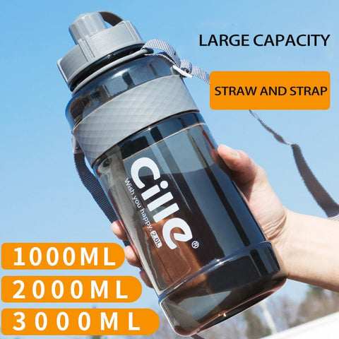 Large Capacity Sports Water Bottles 1L 2L 3L Portable Plastic Outdoor Bottles