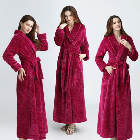 Women Extra Long Thermal Bath Robe
