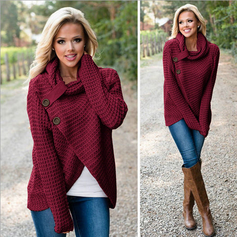 Women's Chunky Turtle Cowl Neck Wrap Sweater Coat