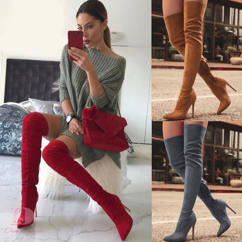 Women's shoes over the knee boots thin high heel