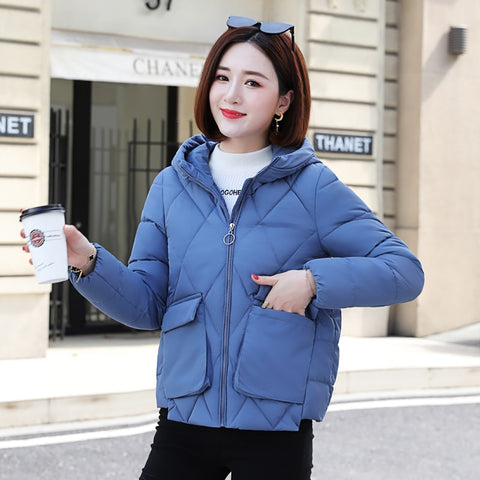 Winter Short Jacket Large Hood With Stand-Up Collar Coat Plus Size Autumn Overcoat