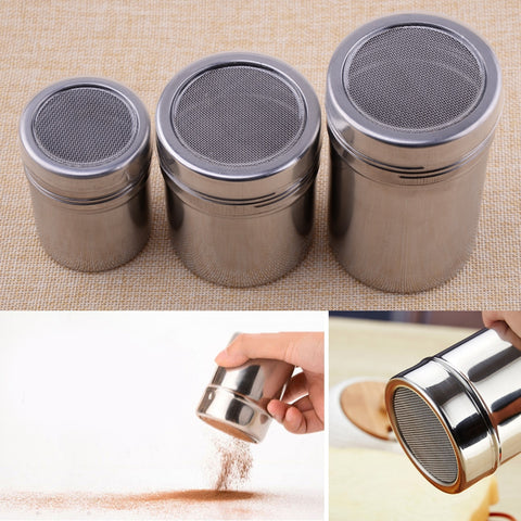 Stainless Steel Mesh Flour Sifter Icing Sugar Dredger Chocolate Powder Shaker Coffee