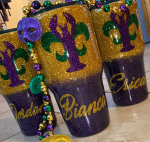 Mardi Gras Crawfish tumbler