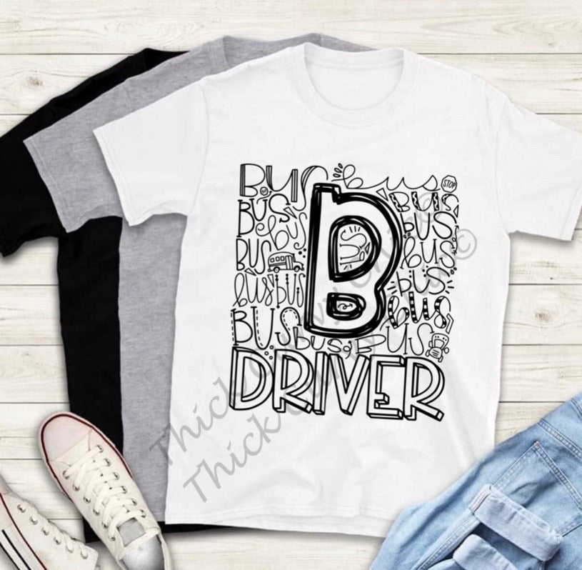 BUS DRIVER TEE (typography design)
