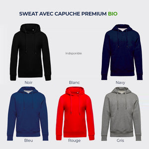 "Sweat cyclisme ""J'ai la tête dans le guidon"" (options : capuche / zip)"