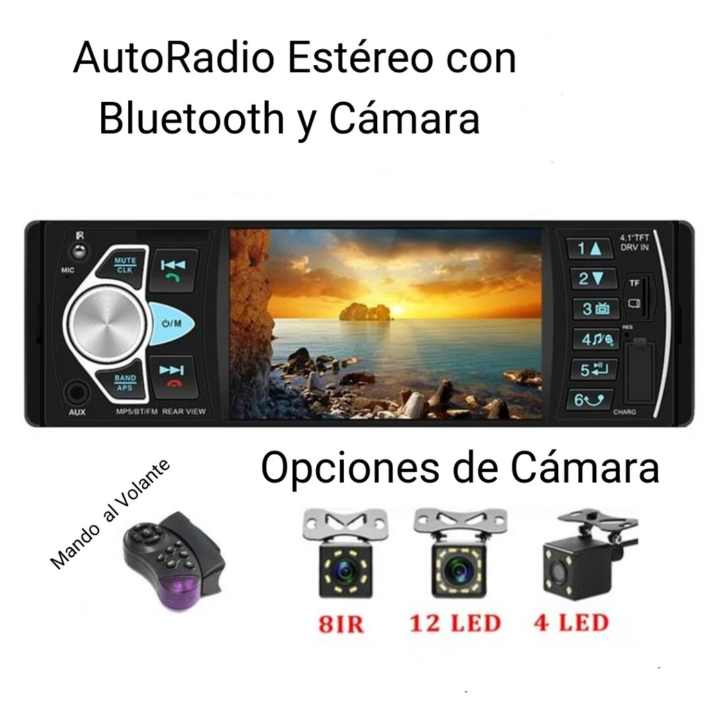 AutoRadio Estéreo con Bluetooth - Stereo AutoRadio with Bluetooth