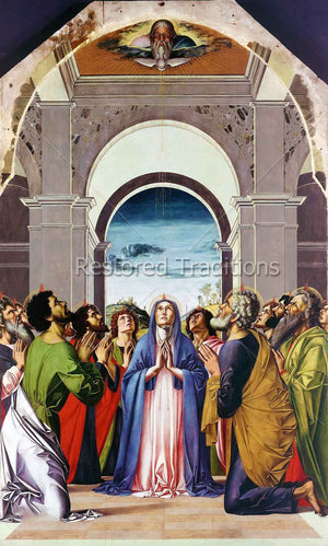 mary and disciples kneeling