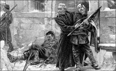Old School Art Image Of A Catholic Priest Helping Soldier