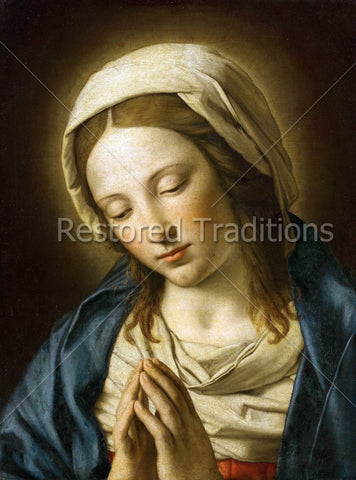 Mother Mary prays with Folded Hands