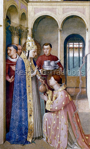 Pope saint Sixtus Gives Property to deacon saint Lawrence