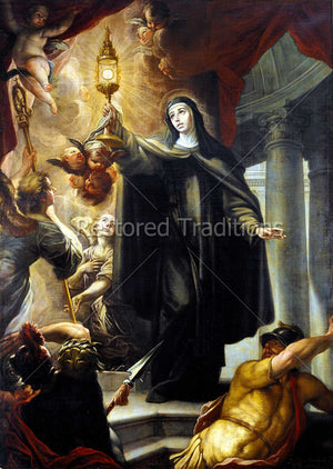 Nun saint holding up monstrance